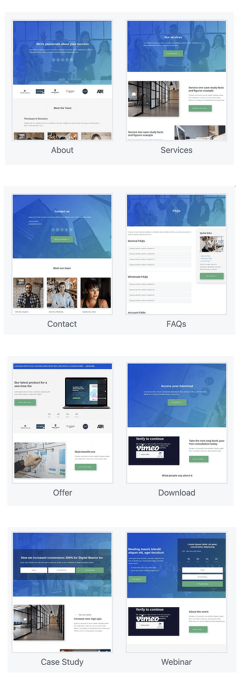 New layout templates in Content Pages group