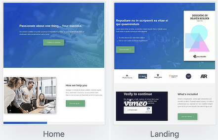 New layout templates in the Landing Pages group