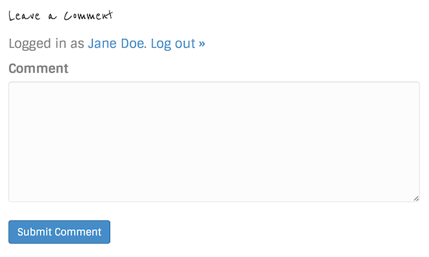 Comments module output for logged-in users